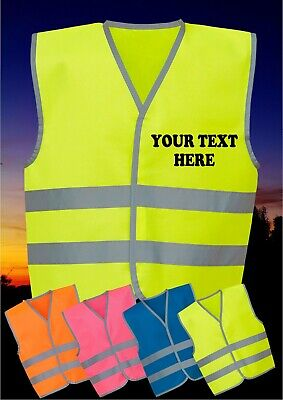 Personalised hi vis vest viz safety reflective waistcoat kids childrens Printed