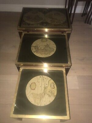 Antique Set Of 3 Wooden side,coffee Tables with map under glass Solid Wood Heavy