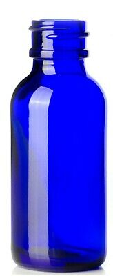 Cobalt Blue Glass Boston Round Bottle 1oz with white glass dropper 120 Pack