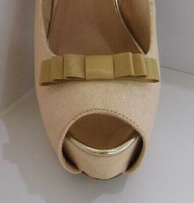 2 Small Gold Triple Bow Clips for Shoes - other colours on request