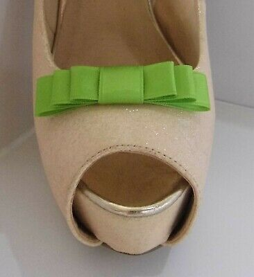 2 Small Lime Green Triple Bow Clips for Shoes - other colours on request