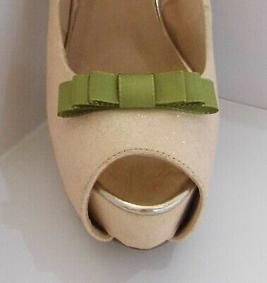 2 Small Moss Green Stitched Edge Triple Bow Clips for Shoes