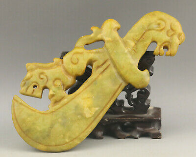 Chinese old natural jade Hand-Carved statue dragon sword