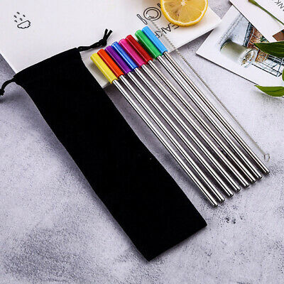 8Pcs Reusable Stainless Steel Straws Metal W/Silicone Tips Clean Brush #US STOCK