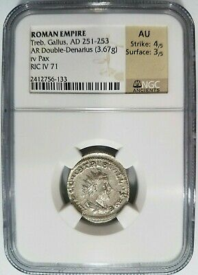 Treb Gallus Roman Empire AD 251-253 NGC AU Silver Double Denarius Ancient Pax