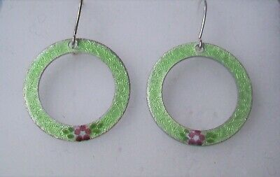 Round Hoop Earrings Guilloche Enamel -Sterling Silver Wire-Green/ Pink  flower