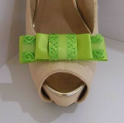 2 Lime Green Triple Bow Clips for Shoes with Filigree Edge