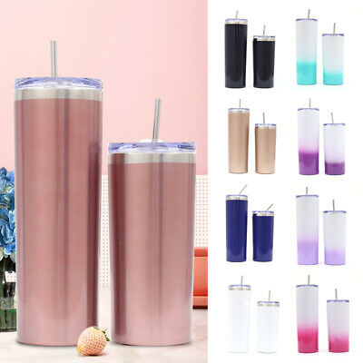 Vacuum Insulated Water Bottle Tumbler Cup Stainless Steel With Lids Straws 20 OZ