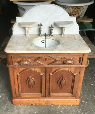 Antique Marble Sink Basin Walnut Cabinet Base Old Vtg Victorian Bathroom 303-19E