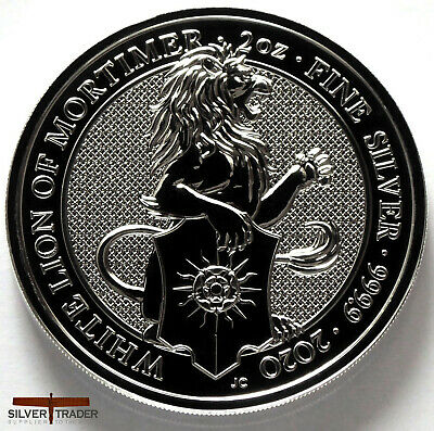 2020 Queens Beasts White Lion of Mortimer 2oz Silver Bullion Coin unc: