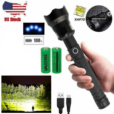 XHP70 900000Lumens Zoomable LED USB Rechargeable Flashlight Torch Powerful Light