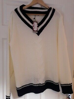 maternity V neck knitted jumper cricket jumper style NEW large cream