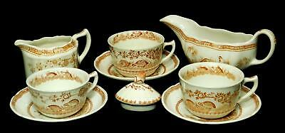 Furnivals Masons Ironstone Brown Quail Cups Saucers Creamer Gravy Sugar Lid only
