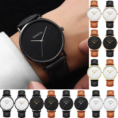 Luxury Mens Leather Business Dress Watch Military Casual Analog Wrist Watches VU