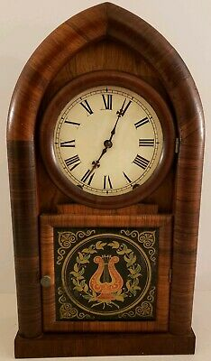 Antique Working 1860 NEW HAVEN Mahogany Rosewood Victorian Beehive Mantel Clock