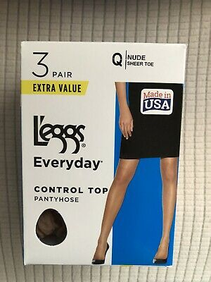 Sizes B-Q 4 COLORS 3-Pair L/'eggs Everyday Control Top Sheer Toe Pantyhose