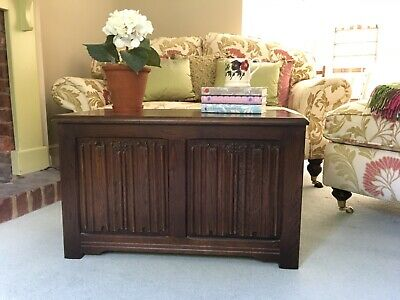 20century oak blanket box/chest with linen fold carving to front. Good condition