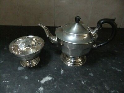 Art Deco Sheffield Epns Silver Plated Teapot And Sugar Bowl
