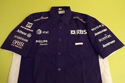 Williams F1 Team Issue Shortsleeve Shirt Mens Medium - Full Embroidered Sponsers
