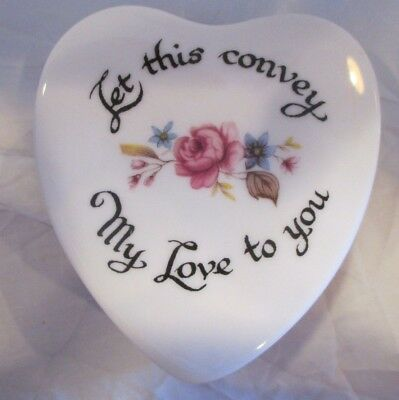 """Vintage Countess Bone China """"Let This Convey My Love Two You"""" Heart Trinket Box"""