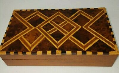 Rare Vintage Inlaid Wood Marquetry Rectangle Box. Jewelry Trinket.