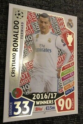 Match Attax Champions League 2017/18. 16/17 - Cristiano Ronaldo Hot Shot Card