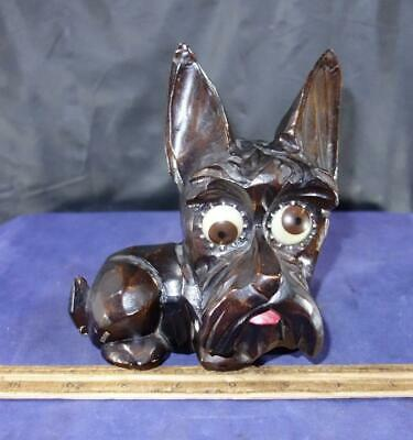 VINTAGE J Oswald Co Germany Rolling Eye Scottish Terrier Dog Scotty Clock !
