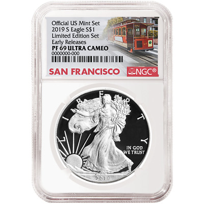 2019-S Limited Edition Proof Set $1 American Silver Eagle NGC PF69UC Trolley ER
