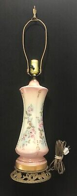 ANTIQUE FRENCH TABLE LAMP SIGNED HAND PAINTED PORCELAIN Rose Pink Floral LOVELY