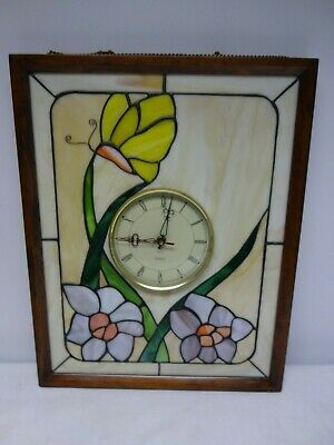 Art Deco - Quartz Clock Set In Colourful Stained Glass Window Picture.frame.