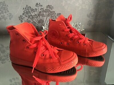 Converse High Tops Girls Bright Coral Pink Size 11.5