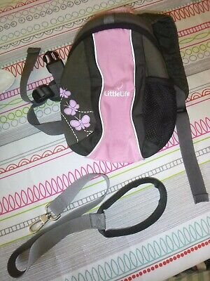 little life brown/pink butterfly backpack with reins