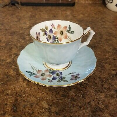 Vintage AYNSLEY Tea Cup & Saucer, Pretty Baby Blue Floral With Gold Trim