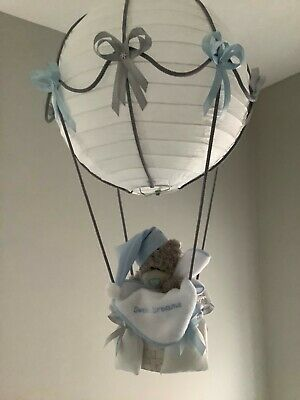 Hot Air Balloon nursery light shade Silver grey/blue made to order.