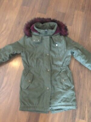 Girls Abercrombie & Fitch Khaki Green Fur Lined Parka Coat Ex Lge 15/16 Ex Con