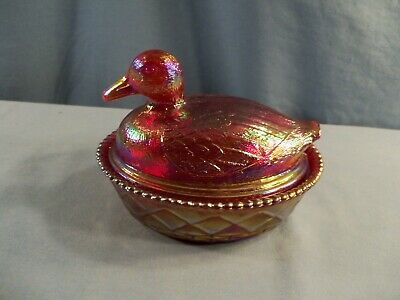 Westmoreland / Levay Red Carnival Glass Duck on the Nest Covered Candy Dish