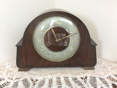 Vintage Retro Smiths 8 Day Floating Balance Striking Mantel Clock/Wooden Case
