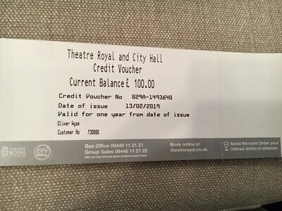 Credit voucher Newcastle Theatre Royal & City Hall, £100, expires 12/02/2020