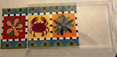 Unique Acrylic Serving Tray Completed Needlepoint w/ Ocean Crab  Starfish Theme