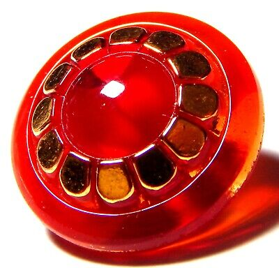 VIVID 1940'S RUBY RED GLASS MOONGLOW BUTTON w/GOLDEN LUSTER TRIM ~ 3/4""
