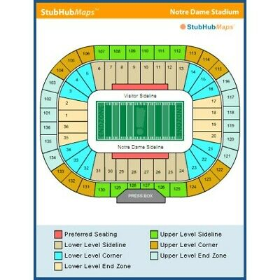 4 Fantastic Notre Dame vs VA Tech  Football Tickets / Section 9 / Lower Level