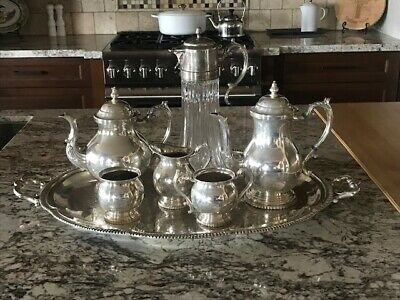 FB Rogers Silver on Copper Tea & Coffee Set Elizabeth - 7 piece w/crystal H2O