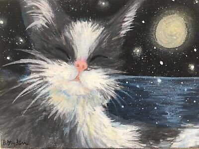 Gray White Cat Kitten Animal ACEO Original Miniature Painting  Cape Cod Artist
