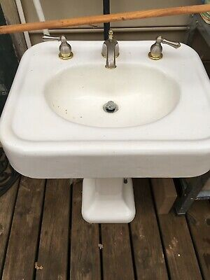VINTAGE PEDESTAL PORCELAIN CAST IRON SINK 1930s-RARE ANTIQUE
