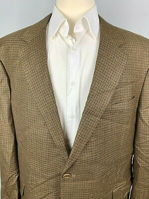 Brooks Brothers Madison Wool Houndstooth Sport Coat sz 48 R Brown