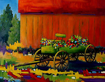 Colorful WAGON done in oil paints by SHIRLEY THOMAS FINE ARTIST