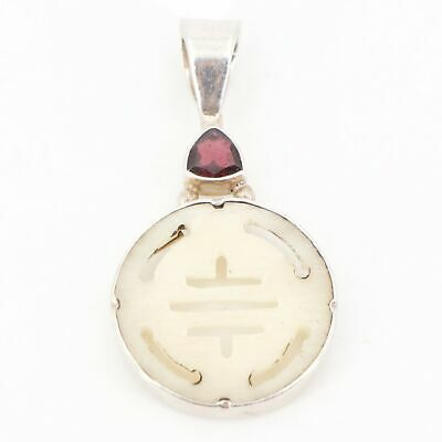Sterling Silver - Signed SJ Garnet & Carved Shell Pendant - 8g
