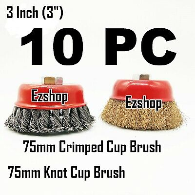 """10 Wire Cup Brush 3"""" (75mm) for 4-1/2"""" (115mm) Angle Grinder Twist Knot Crimped"""