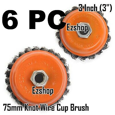 "6 PC 3"" x 5/8"" 11 NC FINE Knot Wire Cup Brush Twist - For Angle Grinders Wheel"