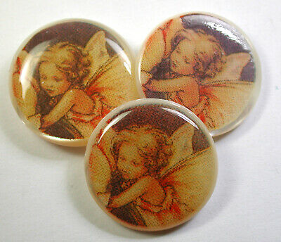 """3 Vintage Shell Buttons w/ Cute Fairy Design  - 13/16"""""""